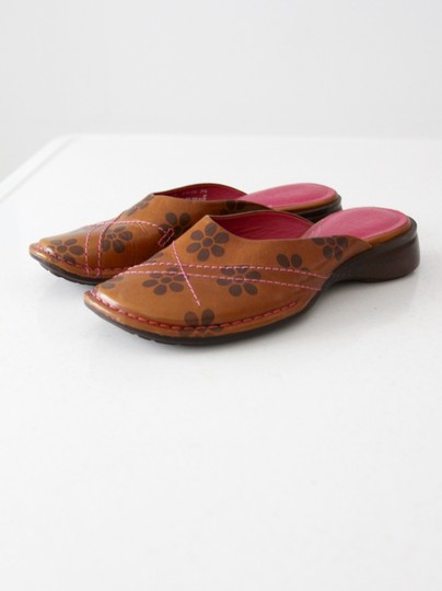 Clarks Indigo By Floral Leather Tan Mules