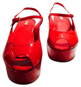 Miu Miu Red Patent Leather Wedges