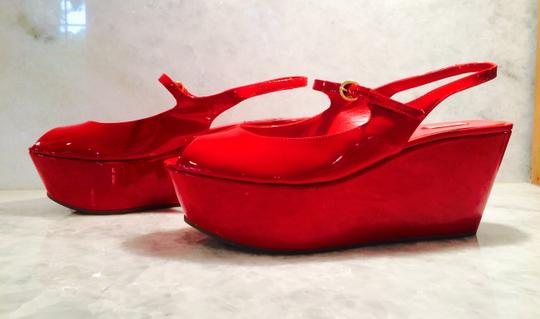 Miu Miu Mary Jane Red Patent Leather Wedges