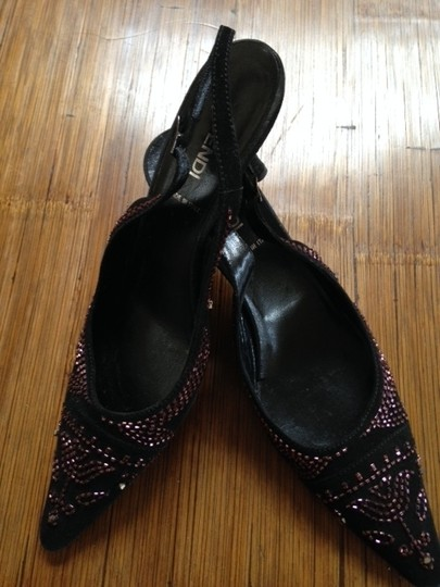 Fendi Slingback Heel Made In Italy Black with Rose Beading Formal
