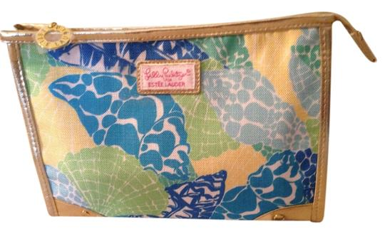 Lilly Pulitzer Satchel in Multi - yellow, blue, green with gold trim w/majenta lining