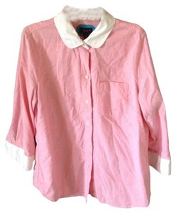 American Eagle Outfitters Button Down Shirt Pink W White Trim