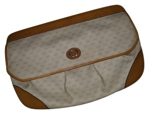Gucci Vintage Leather Gg Monogram Tan White Clutch