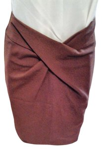Sunny Leigh Brown Knee Mini Dressy Skirt Dark Brown