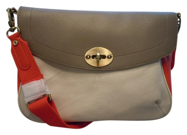 Item - Colorblock Off White/Taupe/Vermillion Leather Messenger Bag