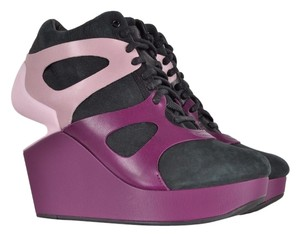 Alexander McQueen Nabuck Leather Purple Wedges