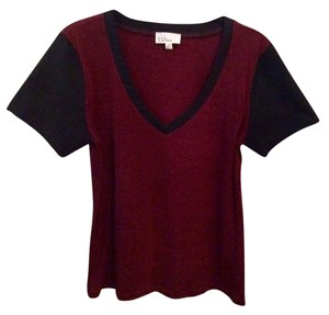 Lucca Couture V-neck Faux Leather Panel T Shirt Red And Black