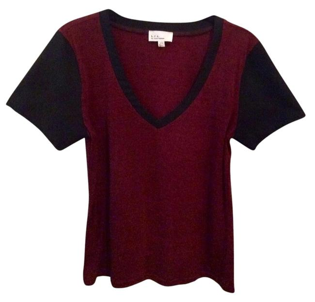 Lucca Couture V-neck Faux Leather Panel Party T Shirt Red And Black