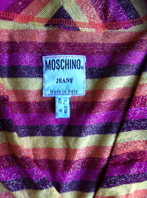 Moschino Reduced For Quick Sale Fall Colors Designer Cardigan Button Down Shirt Multi (red/orange)