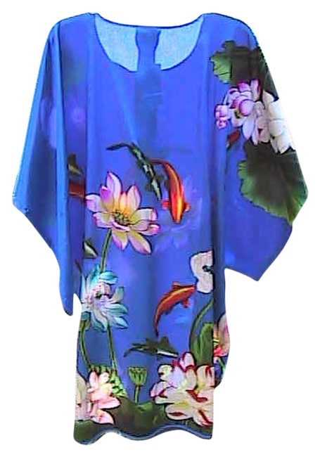 Preload https://item5.tradesy.com/images/blue-floral-and-fish-kimono-summer-mid-length-short-casual-dress-size-os-one-size-3101269-0-0.jpg?width=400&height=650