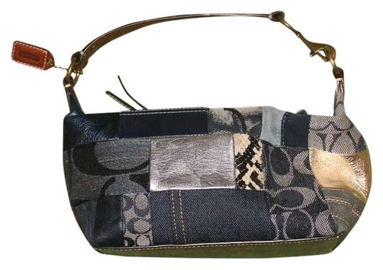 Coach Leather Fabric Patchwork Denim Baguette