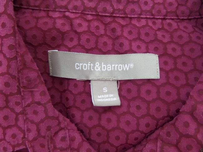 Croft & Barrow Top Burgundy Floral Print