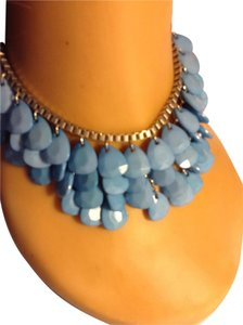 Siler Tone Turquoise Acrylic Drop Bead Necklace 052414