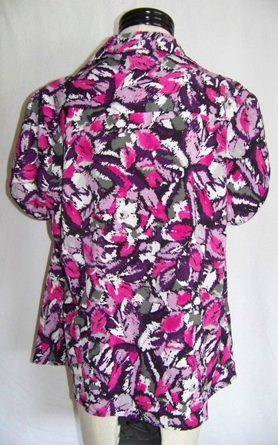 Nue by Shani Plus Size Options Button Down Shirt Purple Pink and White Geometric Print