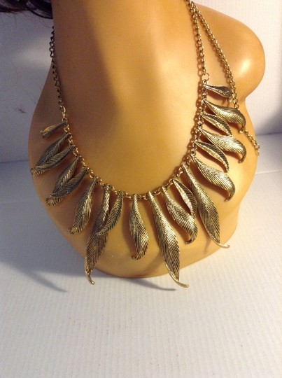 Other Gold Tone Leaves Statement Necklace 052411