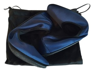 Jil Sander Travel Satin Blue Flats