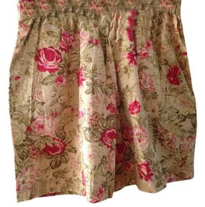 Liz Sport Dress Shorts Antique brown with rosy floral pattern