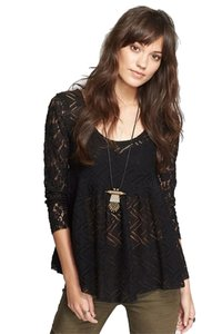 Free People Gracie Brushed Lace Bohemian Peasant Top