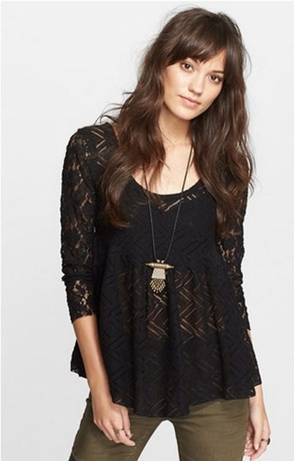 Free People Gracie Brushed Lace Bohemian Peasant Top Black