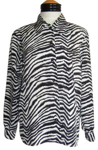 Notations Zebra Top Black and White Animal Print