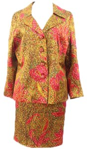 Unbranded Woman Multicolor Metallic Evening Printed Skirt-suit Size 14