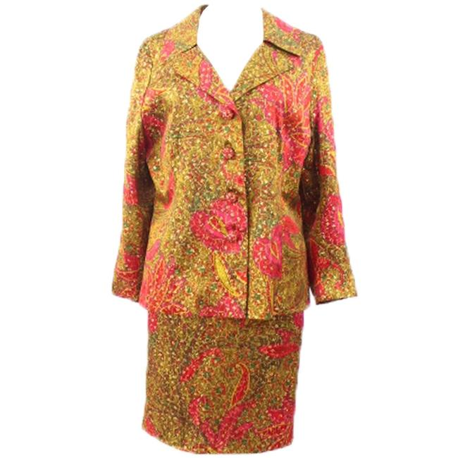 Other Unbranded Woman Multicolor Metallic Evening Printed Skirt-suit Size 14