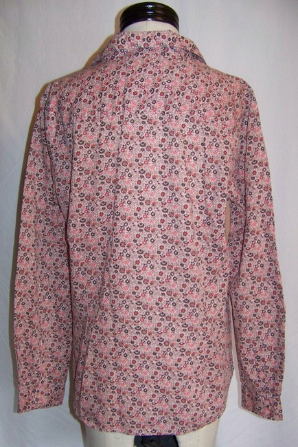 Izod Button Down Shirt Pink with Brown and Red Floral Print