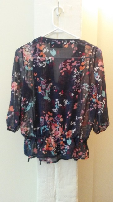 a.n.a. a new approach Floral Sheer Top blue