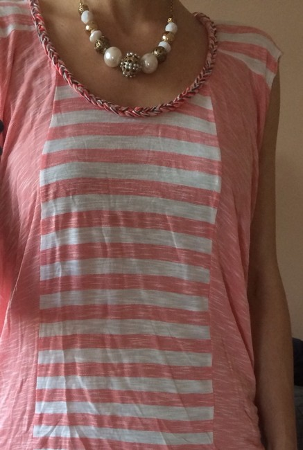 Ella Moss T Shirt Coral and White