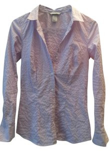 H&M Pinstripe Button Down Shirt purple