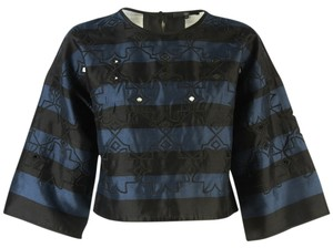 Tibi Scoop-neck Cutouts Stripes Wide-sleeve Crop Embroidery Laser-cut Top Navy and Black