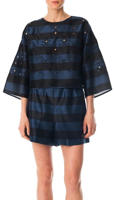 Tibi Scoop-neck Cutouts Stripes Wide-sleeve Crop Embroidery Laser-cut Top Navy and Black Image 1