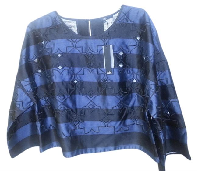 Tibi Scoop-neck Cutouts Stripes Wide-sleeve Crop Embroidery Laser-cut Top Navy and Black Image 2