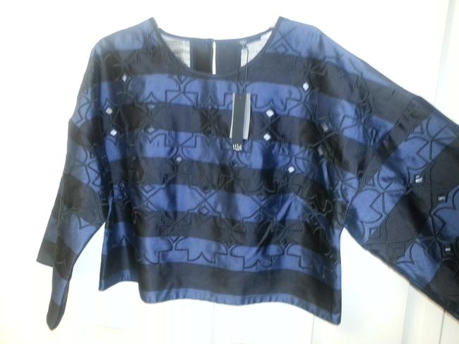 Tibi Scoop-neck Cutouts Stripes Wide-sleeve Crop Embroidery Laser-cut Top Navy and Black Image 3