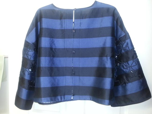 Tibi Scoop-neck Cutouts Stripes Wide-sleeve Crop Embroidery Laser-cut Top Navy and Black Image 4