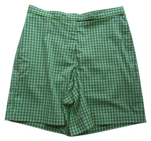 Liz Claiborne Bermuda Shorts Green and White Checkered Print