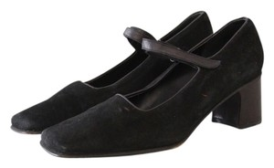 Banana Republic Mary Jane Square Toe Suede Black Pumps