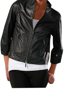 Vince Leather Cropped 3/4 Sleeve Motorcycle Leather Jacket