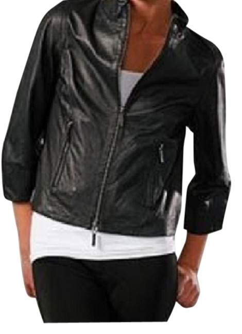 Vince Cropped 3/4 Sleeve Motorcycle Leather Jacket