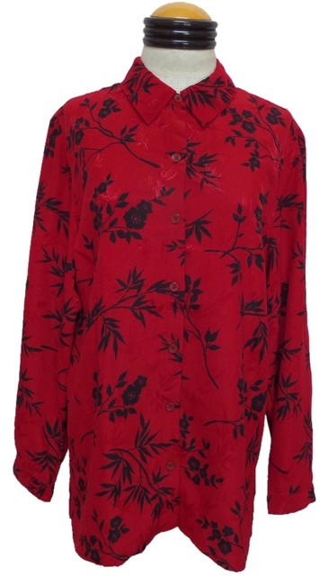 Jennifer Moore Top Red with Black Floral Print