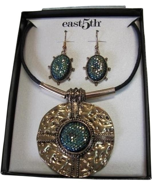 East 5th Essentials Gold Black Blue Box New Excellent Condition Necklace and Earring Set In By East 5th Essentials Gold Black Blue Box New Excellent Condition Necklace and Earring Set In By Image 1