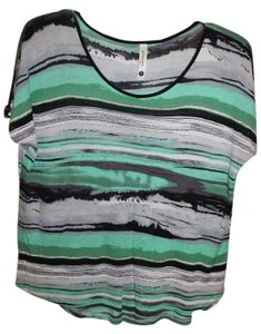 Kensie T Shirt Green/Black/White Stripe