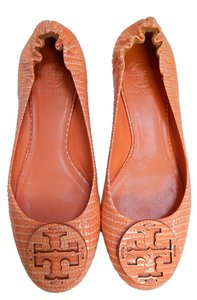 Tory Burch Ballet Lizard Print Orange Flats