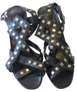 Roger Vivier Leather Straps Metal Accents Triangle Heel Never Been Worn Black with Animal Print Sandals