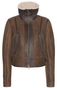 Burberry Brit Vintage Leather Aviator Bomber Shearling Brown Leather Jacket