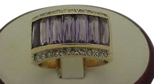 Vintage 14k Yellow Gold ring with Amethysts and Diamonds