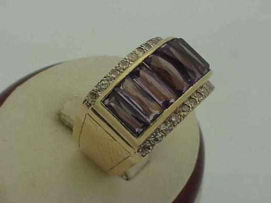Vintage Mans Art Deco Genuine Amethysts Diamonds 14k Yellow Gold Ring