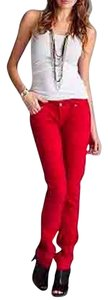 Chaus Sport Essentials Cotton Twill Red Red Never Worn Straight Leg Jeans-Light Wash