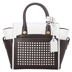Reed Krakoff Leather Perforated Tote in SALE $500 Brown white NWT