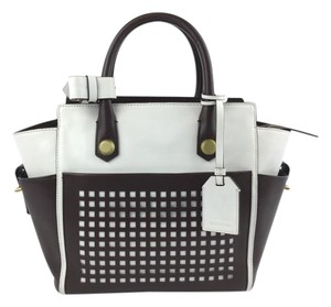 Reed Krakoff Leather Perforated Brown White Studded Satchel in White/ Brown